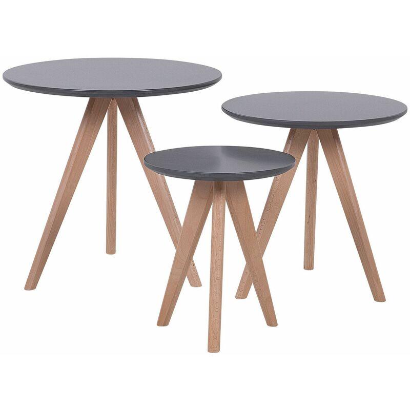 Couchtisch 3er Set Grau Braun MDF Tischplatte Rund Modern - BELIANI