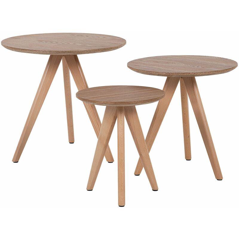 Couchtisch 3er Set Braun MDF Tischplatte Matt Rund Modern