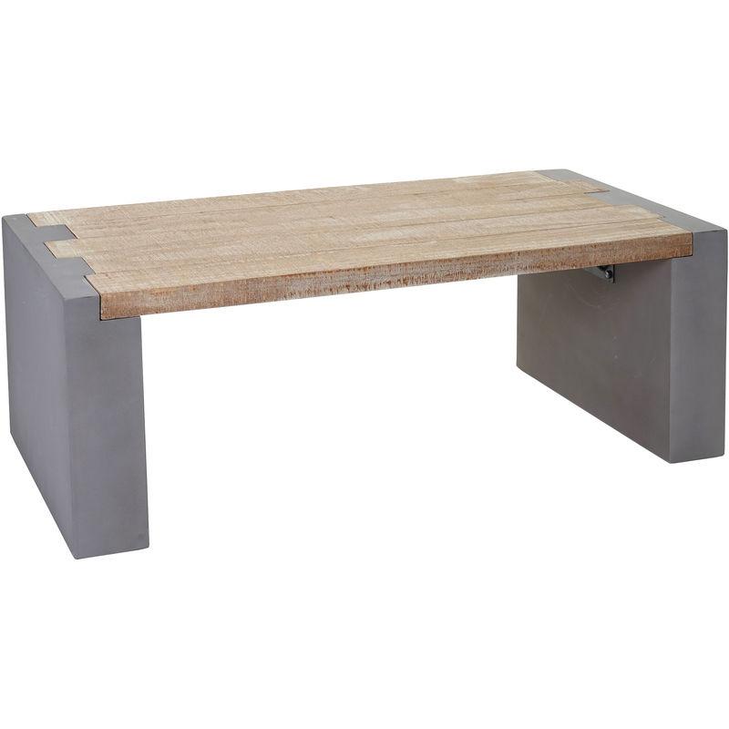Couchtisch 905, Wohnzimmertisch, Beton-Optik Tanne Holz rustikal massiv 46x122x60cm - HHG