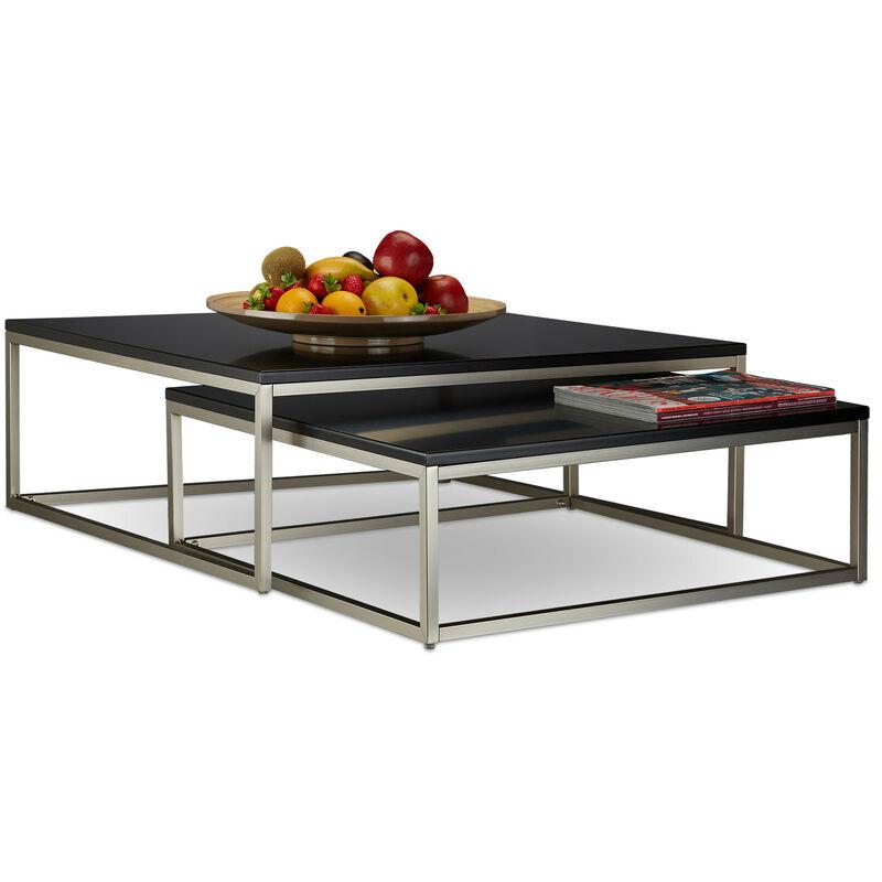 Relaxdays - Couchtisch Holz FLAT 2er Set 27,5 x 75 x 75 cm HxBxT, flacher Loungetisch, Satztische für Wohnzimmer, schwarz