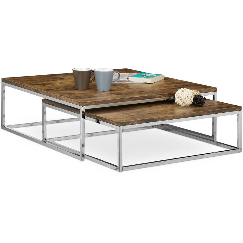 Couchtisch Holz FLAT 2er Set natur HBT 27 x 80 x 80 cm großer  Wohnzimmertisch passt ineinander als Satztisch flacher Beistelltisch mit  Chrom-Metall ...
