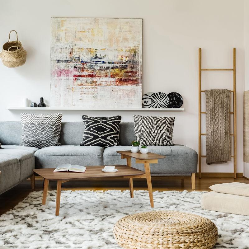 Couchtisch, mit Ablage, niedrig, 2 Ebenen, Wohnzimmer, Schlafzimmer,  Bambus, MDF, HBT: 50 x 120 x 60 cm, natur