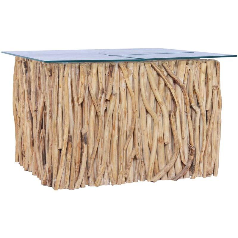 Vidaxl - Couchtisch mit Glasplatte 66x66x40 cm Massivholz Teak
