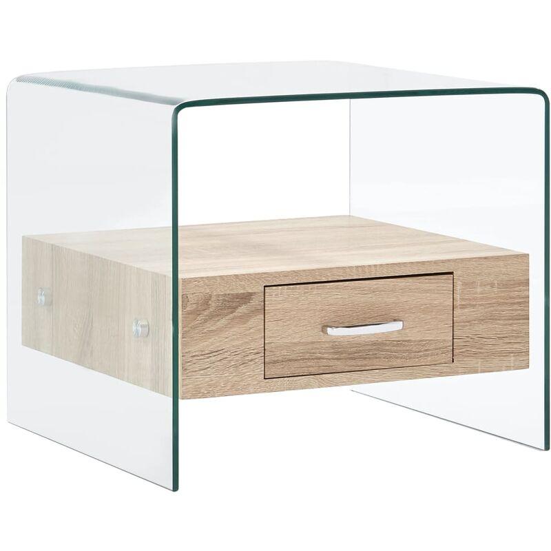 Vidaxl - Couchtisch mit Schublade 50×50×45 cm Hartglas
