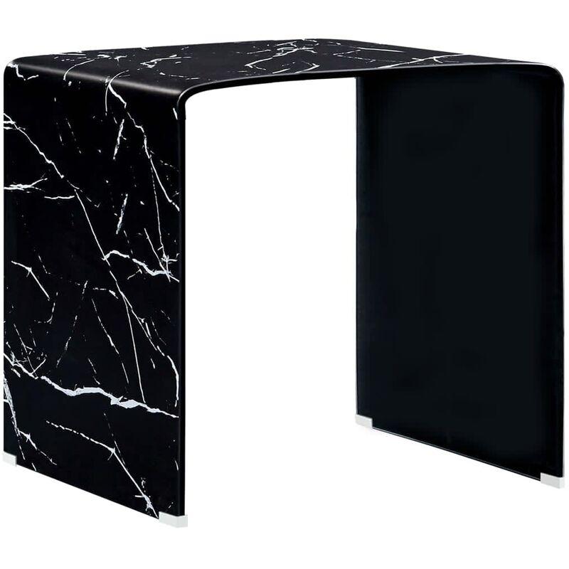 Vidaxl - Couchtisch Schwarz Marmor-Optik 50 x 50 x 45 cm Hartglas