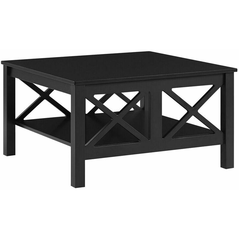 Couchtisch Schwarz MDF - Platte 80 x 80 cm Doppelte X - förmige Verstrebung Kaffeetisch Lackierte Tischplatte Quadratisch Boho