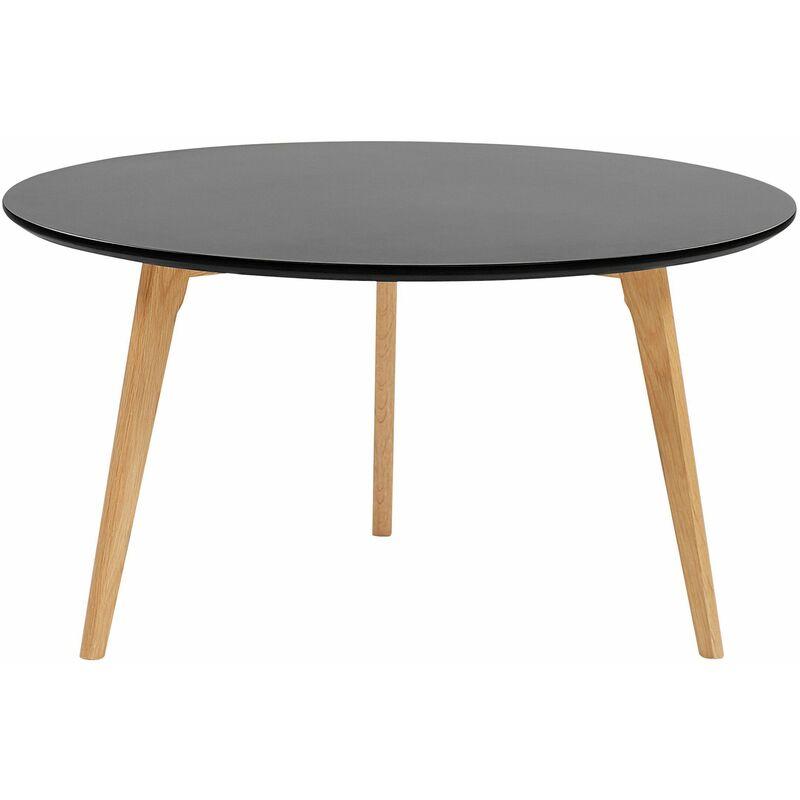 Couchtisch Schwarz ø 80 cm aus MDF-Platte und Holz Rund Modernes Design - BELIANI