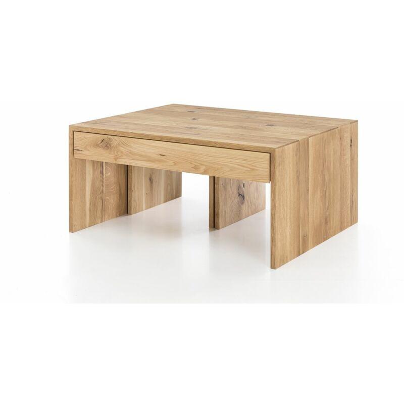 Fun Möbel - Couchtisch Set DANIEL Wildeiche Massiv 90x75 cm inkl. 2 x Hocker