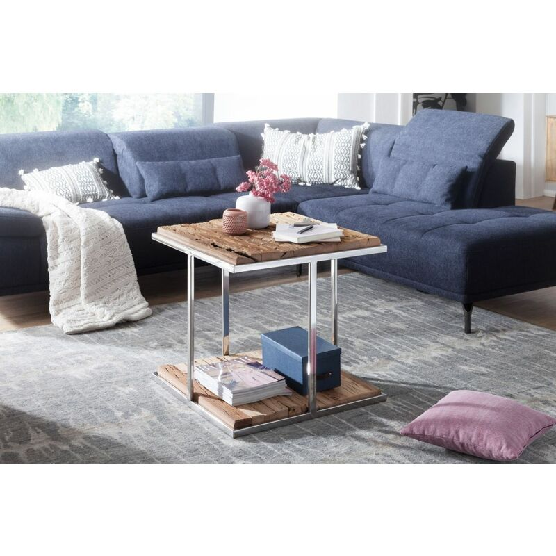 Fun Möbel - Couchtisch Sofatisch NAPO 61x61x62cm Materialmix Massivholz und Metall