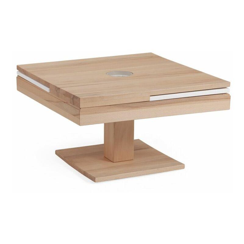 Fun Möbel - Couchtisch Tisch MADOX Wildeiche Massivholz 80x80 cm