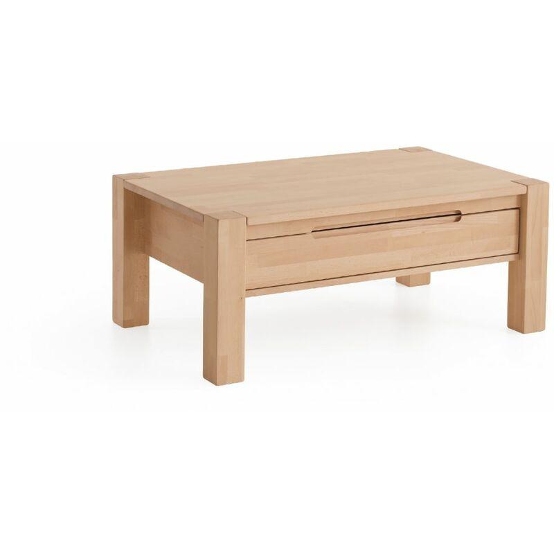 Couchtisch Tisch mit Schublade NALDO XL Eiche Massivholz 120x80 cm - FUN MÖBEL