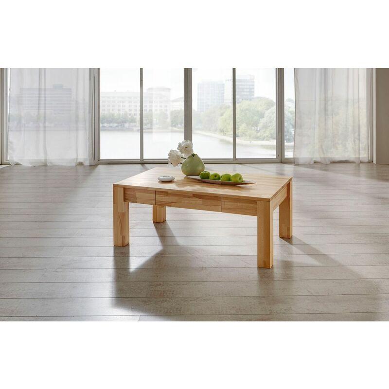 Fun Möbel - Couchtisch Tisch NICO Kernbuche vollmassiv / Echtholz 110 x 70 cm