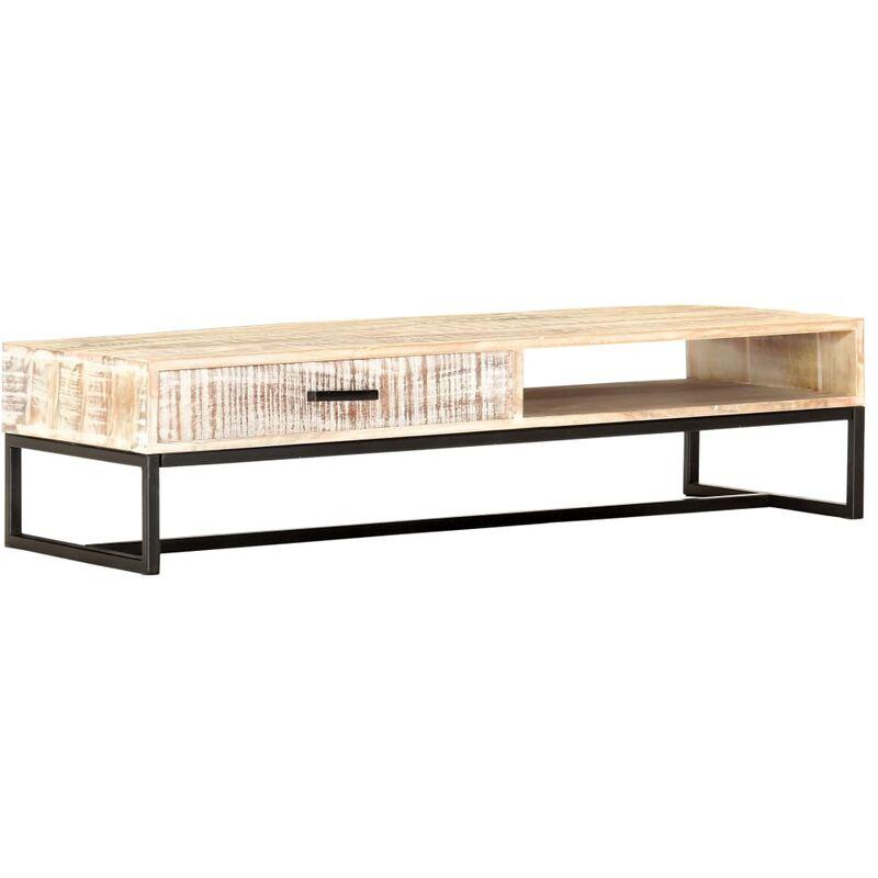 Vidaxl - Couchtisch Weiß 117 × 50 × 30 cm Massivholz Akazie