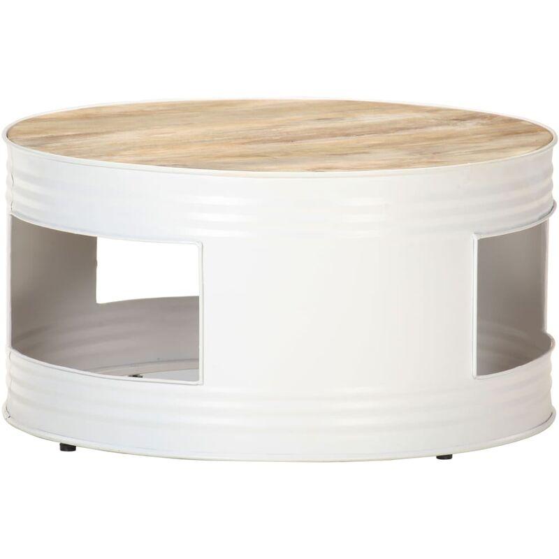 Couchtisch 68x68x36cm Weiß Massivholz Mango