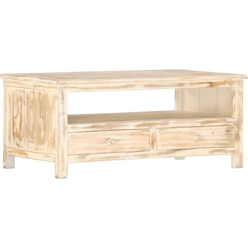 Vidaxl - Couchtisch Weiß 90×50×40 cm Massivholz Mango