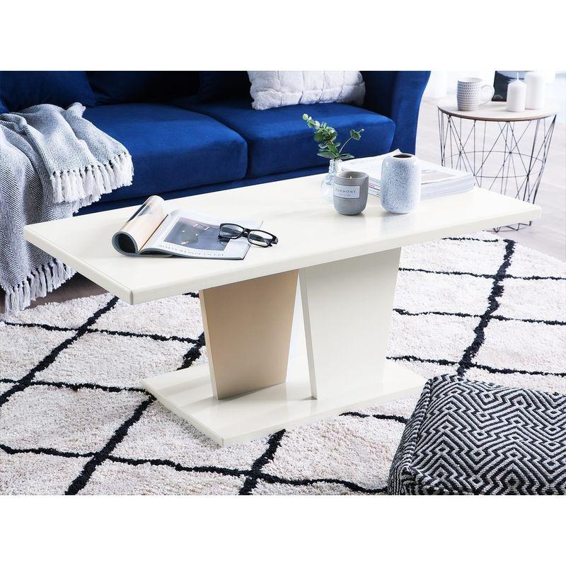 Couchtisch Weiß mit Beige 110 x 55 cm MDF Platte Kaffeetisch Untypische Beine Klassische Tischplatte Lackiert Rechteckig Modern - BELIANI