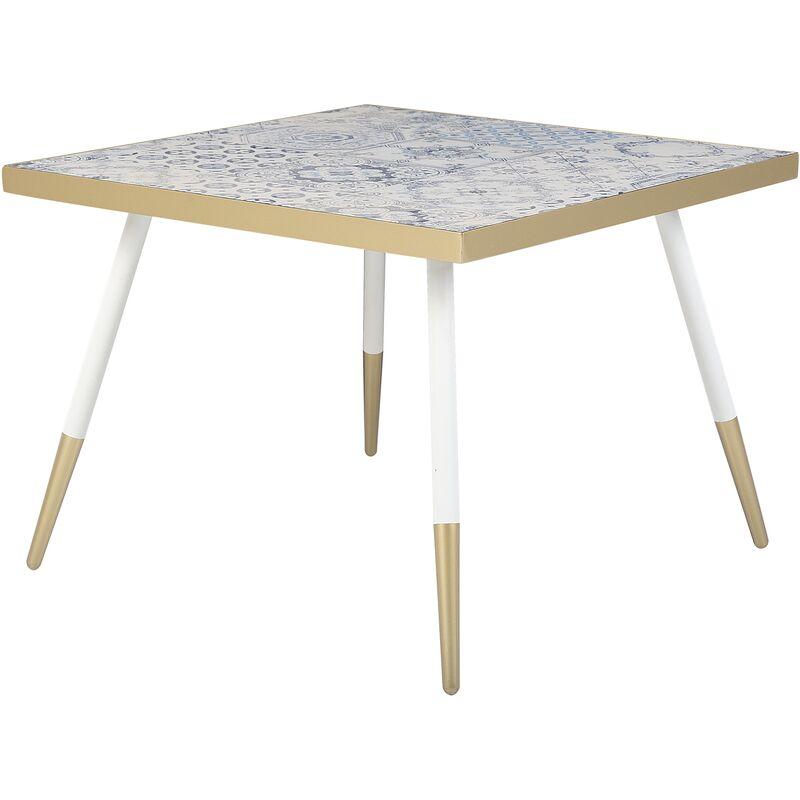 Couchtisch Weiß Blau Gold 61 x 61 cm MDF Tischplatte Quadratisch Vintage - BELIANI