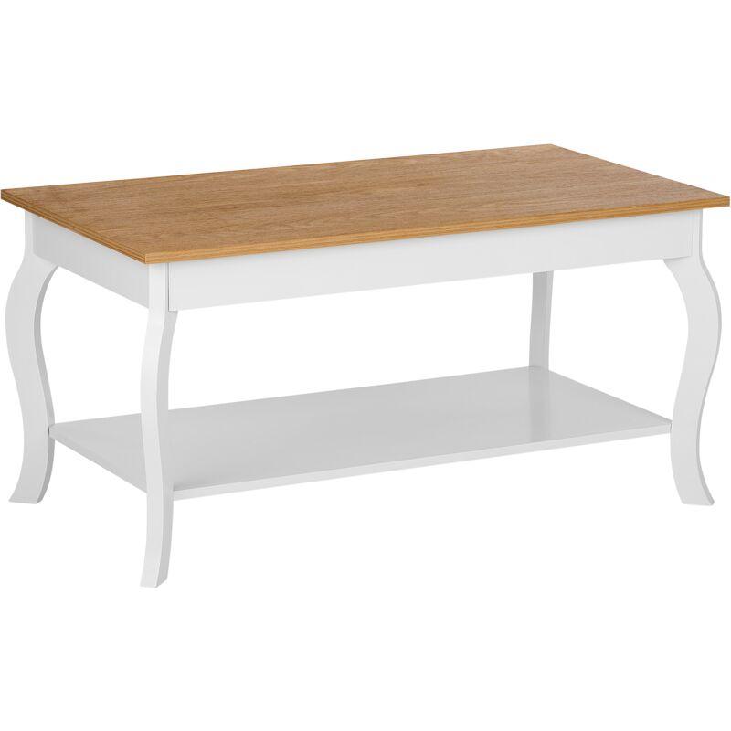 Couchtisch Braun mit Weiß 55 x 100 cm Tischplatte Holzfarbton Dekorative Tischbeine Rechteckig Elegant Ländlich - BELIANI