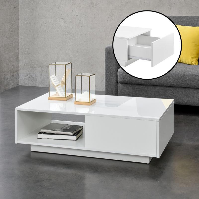 Couchtisch 95 x 55 x 31 cm mit Ablage und Schublade Wohnzimmertisch Kaffetisch Spanplatte Weiß Hochglanz - [EN.CASA]