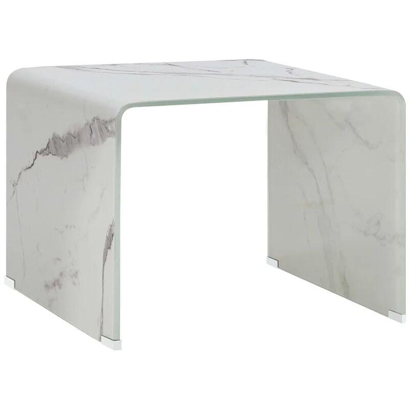 Vidaxl - Couchtisch Weiß Marmor-Optik 50 x 50 x 45 cm Hartglas
