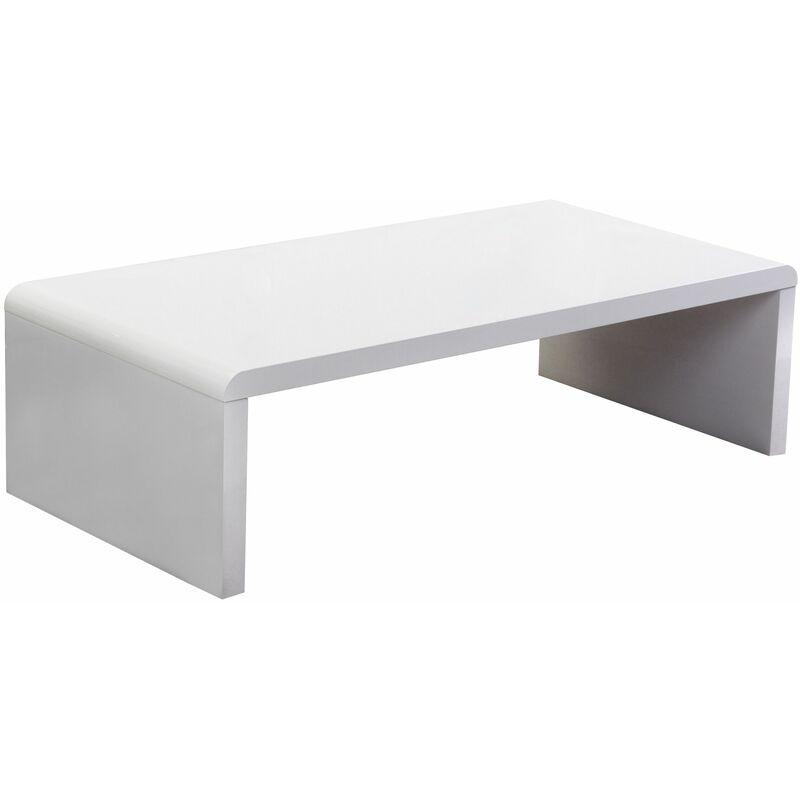 Couchtisch Weiß 60 x 120 cm U förmig MDF Tischplatte Abgerundete Kanten Glänzend Rechteckig Modern