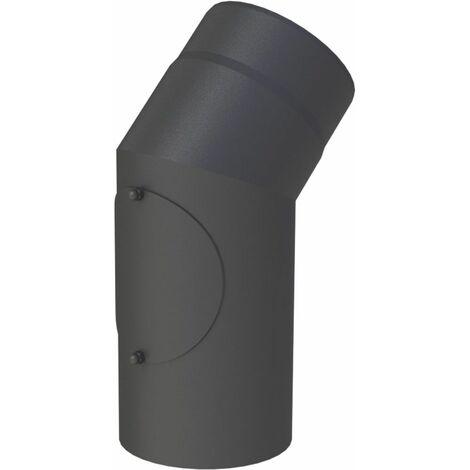 Coude 45° tuyau de poêle Diam 150 mm avec trappe de nettoyage fonte grise