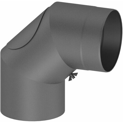 Coude 90° tuyau de poêle Diam 130 mm avec trappe de nettoyage fonte grise