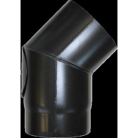 Coude à 45° avec trappe acier noir - Ø 130