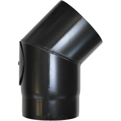 Coude à 45° avec trappe acier noir - Ø 150