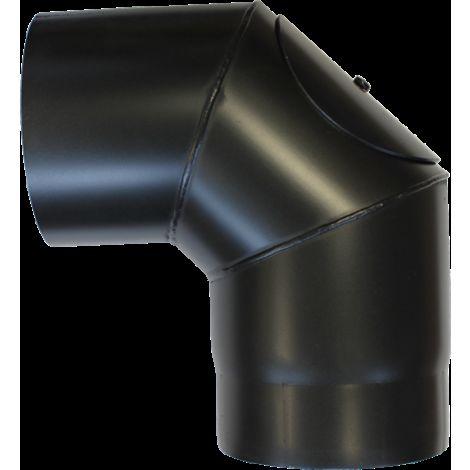 Coude à 90° avec trappe acier noir - Ø 130