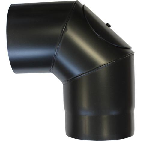 Coude à 90° avec trappe acier noir - Ø 150