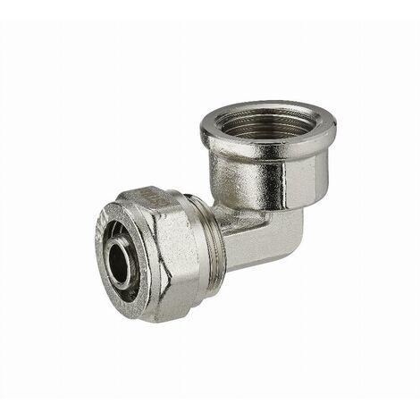 Coude à compression pour tube multicouche NOYON & THIEBAULT - Ø 20 mm à visser femelle F1/2' (15x21) - 3940-1520L1