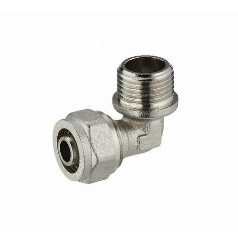 Coude à compression pour tube multicouche NOYON & THIEBAULT - Ø 20 mm à visser mâle M1/2' (15x21) - 3930-1520L1