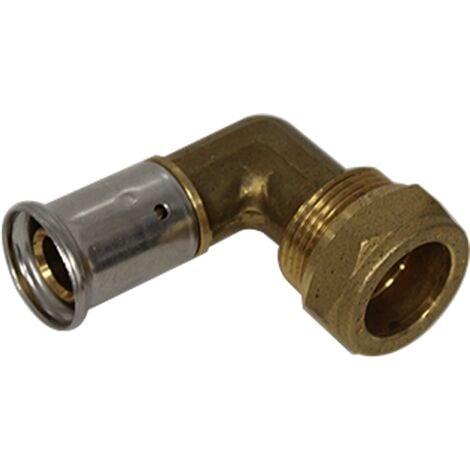 Coude Adaptateur Multicouche laiton à sertir 20x2.0 - Cuivre Ø22 compression