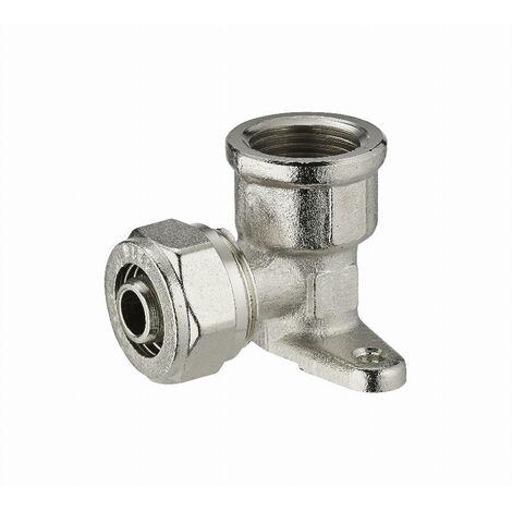 Coude applique à compression pour tube multicouche NOYON & THIEBAULT - Ø 16 mm à visser femelle F1/2' (15x21) 2 trous pour fixation au mur - 3990-1516L1