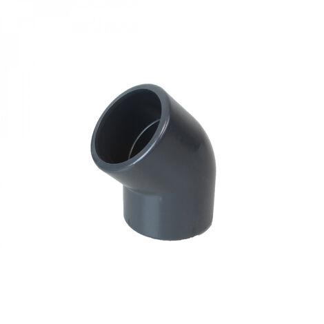 Coude d'angle en PVC - 45° pour raccord de tuyaux - PN16 - 50 mm - Femelle femelle - Gris - Linxor