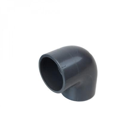Coude d'angle en PVC - 90° pour raccord de tuyaux - PN16 - 50 mm - Femelle femelle - Gris - Linxor
