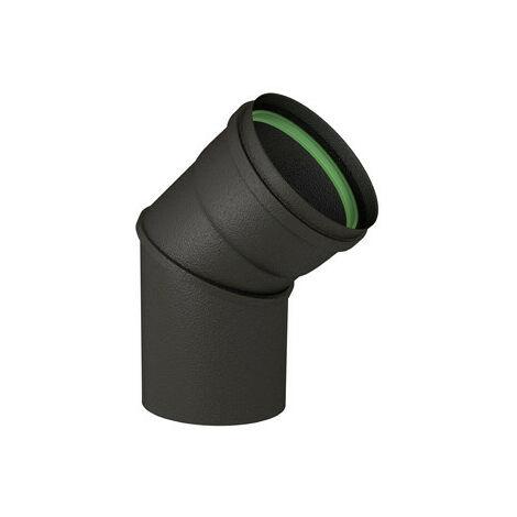Coude émaillé équerre 45° noir mat diamètre 80mm + joint à lèvres - TEN