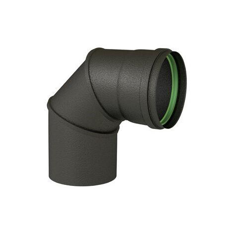 Coude émaillé équerre 90° noir mat diamètre 80mm + joint à lèvres - TEN