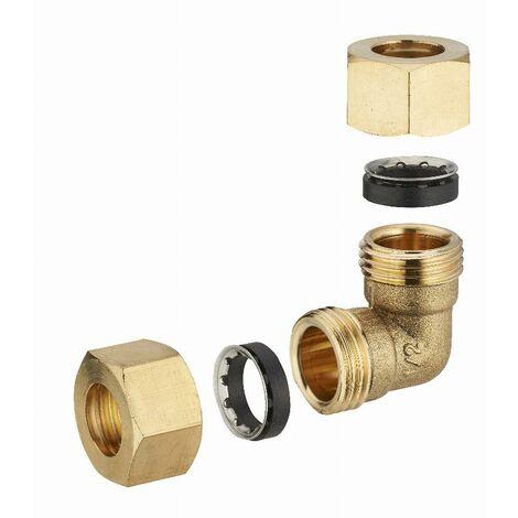 Coude laiton à joint mixte égal pour tube cuivre NOYON & THIEBAULT - Ø 12 mm - 612G-12L1