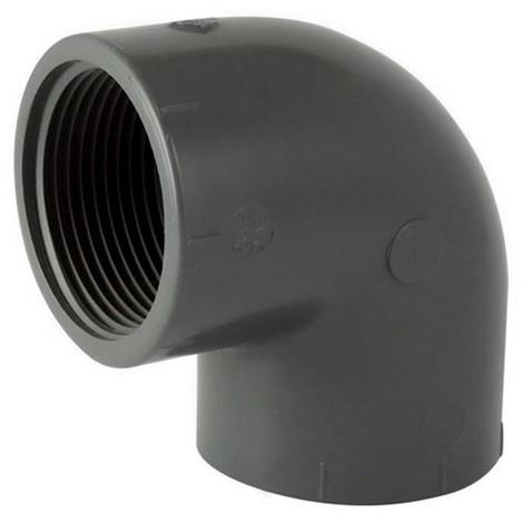 Coude mixte PVC pression taraudé à 90° - Femelle à coller / Femelle à visser. - Diamètre 63 - Taraudage 50/60