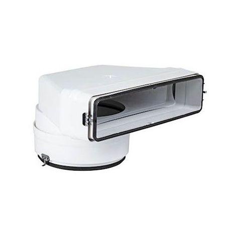 Coude mixte vertical CMV pour conduit rectangulaire PVC rigide - 55 x 220 x ø125mm - Avec joint