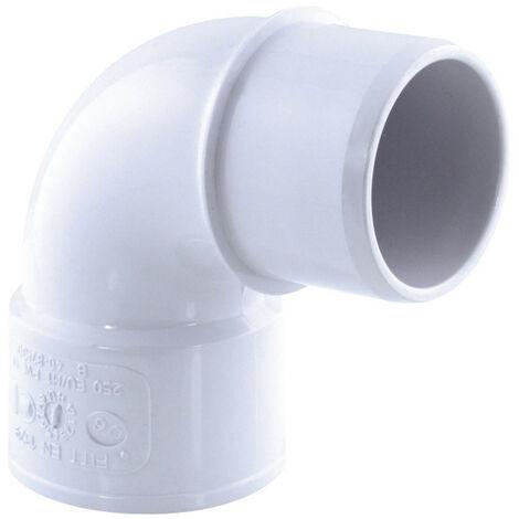 Coude PVC évacuation, 87° M-F, ø 40 mm, couleur blanc.