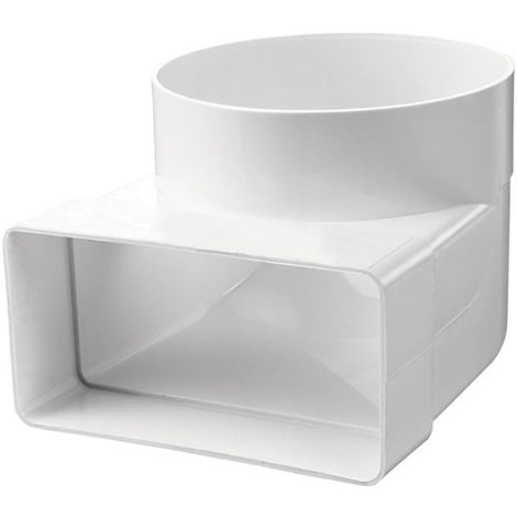Coude PVC rectangle 55mm x 110mm - rond Ø100mm
