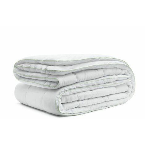 Couette 220x240 BAMBOU thermorégulatrice + 2 oreillers lavable en machine - Blanc
