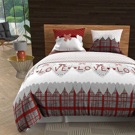 Couette 220x240 cm Love rouge - Rouge