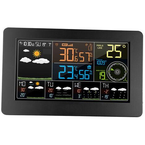 Couleur Multifonction Wifi Station Meteo App Smart Control Weather Monitor Temperature Exterieure Humidite Interieure Numerique Barometrique Vitesse Du Vent Horloge Fonctions Avec Capteur Exterieur