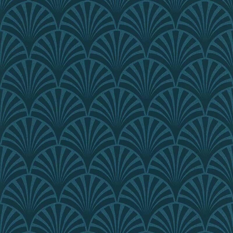 Image of Wallpaper 20's Pattern Artdeco Blue - Blue - Couleurs&matières