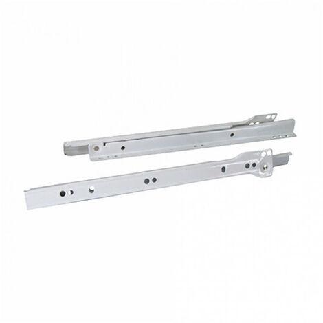 Coulisse à galets en acier époxy blanc - 18kg - sous tiroir - plusieurs modèles disponibles