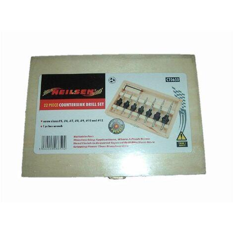 COUNTERSINK DRILL BIT SET IN WOOD CASE(7drill bits, 7countersink collars ,7 grub screws, 1 storage box)